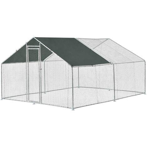 Jaula al aire libre - 3 x 4 x 2 m - Voladero para aves - Jaula Gallinero de Exterior con Tejado - Casa de animales pequeños - Color plata y verde oscuro