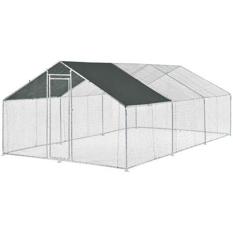 Jaula al aire libre - 3 x 6 x 2 m - Voladero para aves - Jaula Gallinero de Exterior con Tejado - Casa de animales pequeños - Color plata y verde oscuro