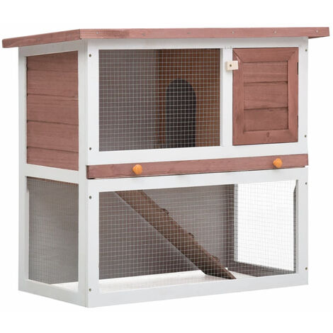 Jaula conejera con 1 puerta madera marron