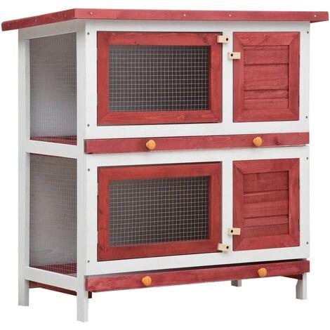 Jaula conejera con 4 puertas madera rojo