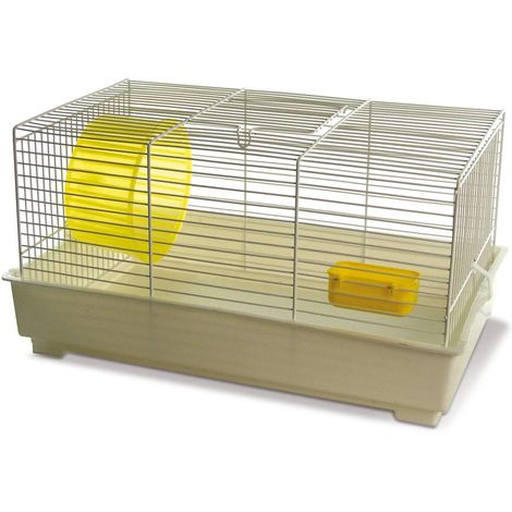 jaula de hámster con parrilla blanca modelo Special 2 completa con rueda y alimentador