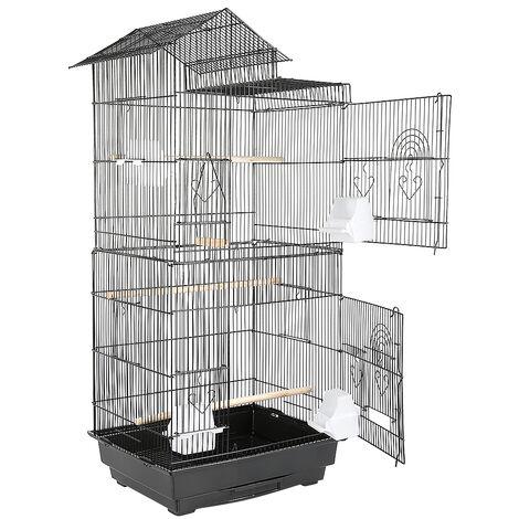 Jaula de hierro para pajarera portátil 46 x 35.5 x 99cm Diseño de techo
