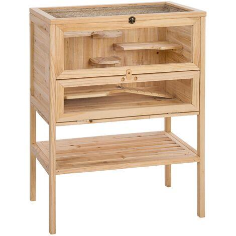 Jaula de madera para hamster 60x40x80cm - marrón