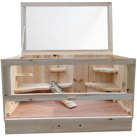 Jaula de madera para roedores jaula de hámster jaula de ratones jaula de animales pequeños jaula de ratas ratoncillos caseta conejera WOW