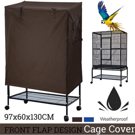 Jaula de pajarera de aves loro grande SOLO CUBIERTA IMPERMEABLE, 97 CM X 60 CM X 130 CM DE ALTO (café)