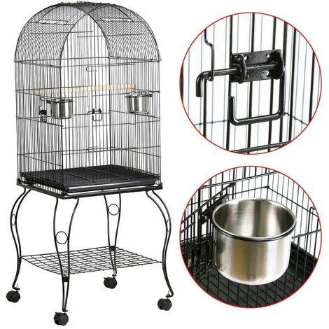 Jaula de pajarera para loros pájaros en metal y madera con carro 59 x 59 x 150 cm