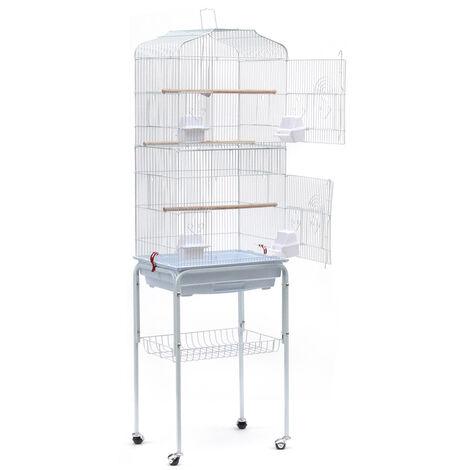Jaula de pajarera para loros y pájaros en metal y madera, con carro de pedestal en forma de Casa Blanca, 46 x 35,3 x 150,6 cm