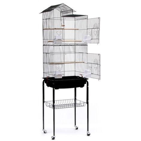 Jaula de pajarera para pájaros loros en metal y madera, con carro de pedestal en forma de casa negra, 46 x 35,5 x 158,5 cm