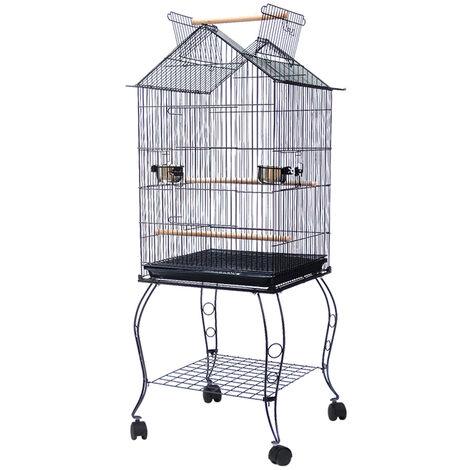 Jaula de Pajarera Para Pájaros Loros en Metal y Madera, con Carro de Pedestal en Forma de Casa Negra, 59 x 59 x 145 cm