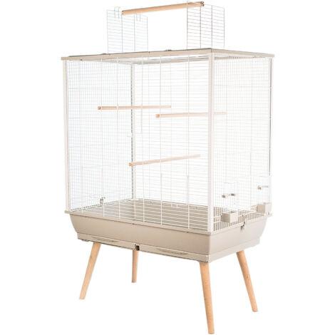 Jaula de pájaros NEO JILI. Color gris. 78 x 48 x altura 80 cm.