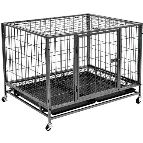 Jaula de perros resistente con ruedas acero 98x77x72 cm
