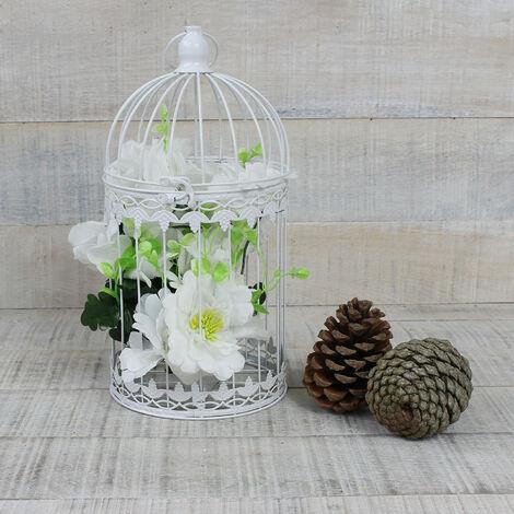 Jaula decorativa blanca de metal para decoración - Diseño elegante France - Hogar y Mas Grande