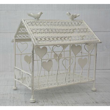 Jaula Decorativa Crema de Metal, Corazones. Decoración de Jardín, Jaula Casa Pájaros. Grande