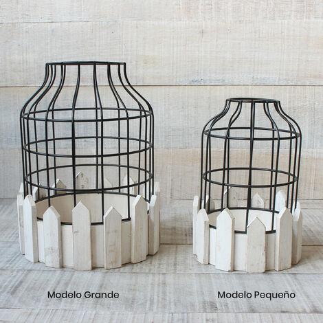 Jaula decorativa de metal forjado y madera natural para decoración - Diseño Circular - France - Hogar y Mas Grande
