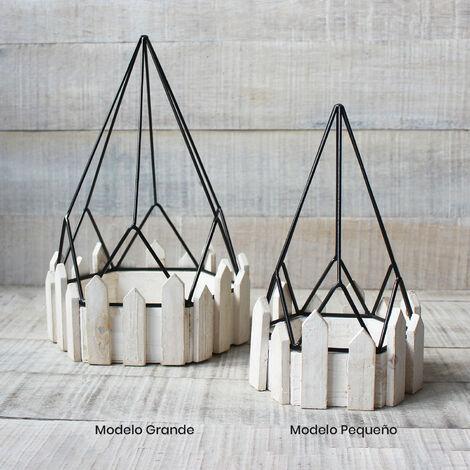 Jaula decorativa de metal forjado y madera natural para decoración - Diseño Geométrico - France - Hogar y Mas Pequeño