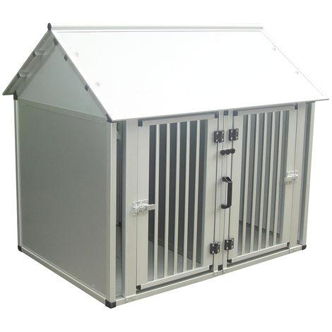 Jaula doble de aluminio para perros y gatos