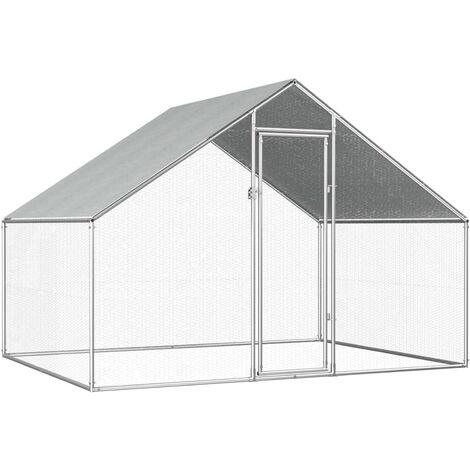 Jaula gallinero de exterior de acero galvanizado 2,75x2x2 m