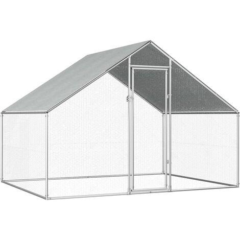 Jaula gallinero de exterior de acero galvanizado 2,75x2x2 m - Plateado