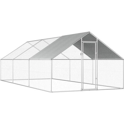 Jaula gallinero de exterior de acero galvanizado 2,75x6x1,92 m - Plateado