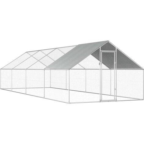 Jaula gallinero de exterior de acero galvanizado 2,75x8x1,92 m - Plateado