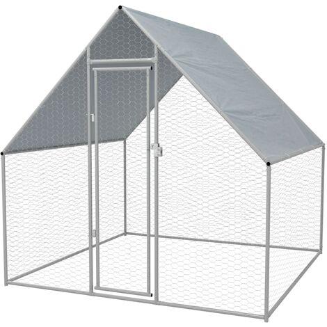 Jaula gallinero de exterior de acero galvanizado 2x2x1,92 m - Plateado