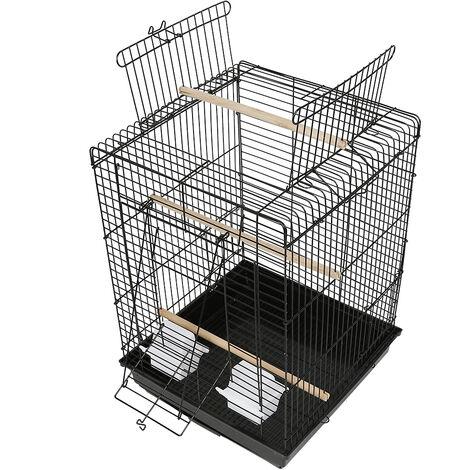 Jaula para canarios y pájaros exóticos pequeños Giusy Jaula para pájaros rectangular, con techo que se puede abrir