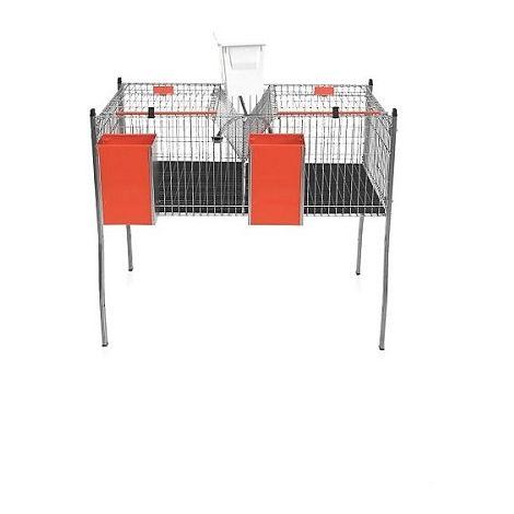 Jaula para Conejos Apilable Modelo AURIA-1 con Cazoleta. 2 Departamentos en 1 Piso.