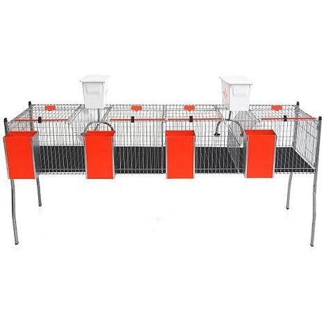 Jaula para Conejos Apilable Modelo AURIA-2 con Cazoleta. 4 Departamentos en 1 Piso.