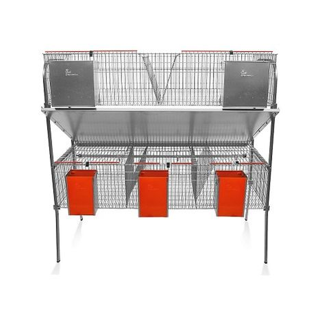 Jaula para Conejos Modelo ECONOMICA-10 con Bebedero Tipo Chupete. 3 Departamentos de maternidad y 2 de Engorde.