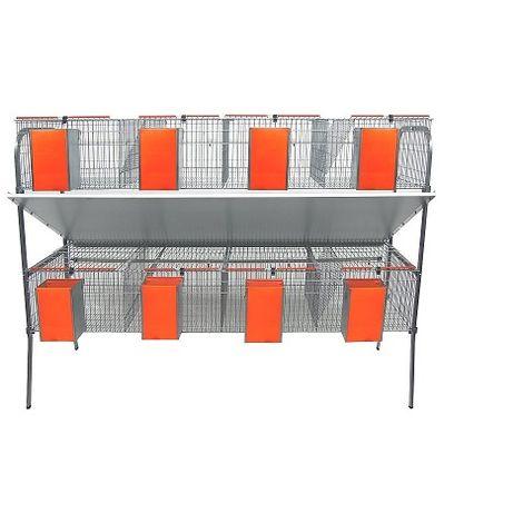 Jaula para Conejos Modelo ECONOMICA-4 con Bebedero de Chupete. 2 Pisos 8 Departamentos