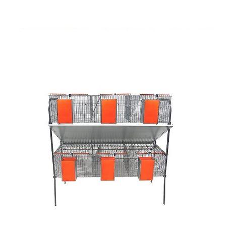 Jaula para Conejos Modelo ECONOMICA-6 con Bedederos de Cazoleta. 6 Departamentos en 2 Pisos