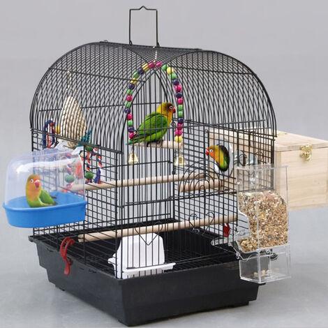 Jaula para Pájaro Espaciosa Jaula de Aves con Techo Abierto con Soportes,No contiene juguetes