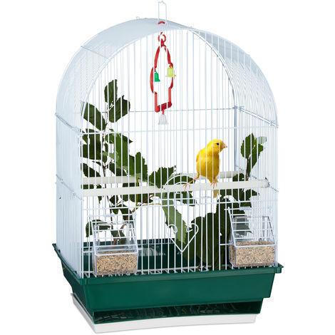 Jaula para pájaros, Barra para sentarse, Comedero, 49,5 x 34,5 x 28 cm, Blanco y verde