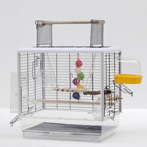 Jaula para Pájaros con juguetes para loros jaula para periquitos pajarera Jaula Vision 47x35x 47cm Blanco