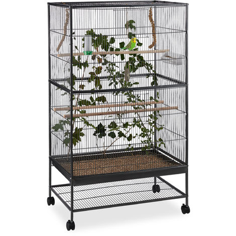Jaula para pájaros, Con ruedas, Para canarios & Pericos, Con accesorios, Pajarera, 134x78x52 cm, Negro
