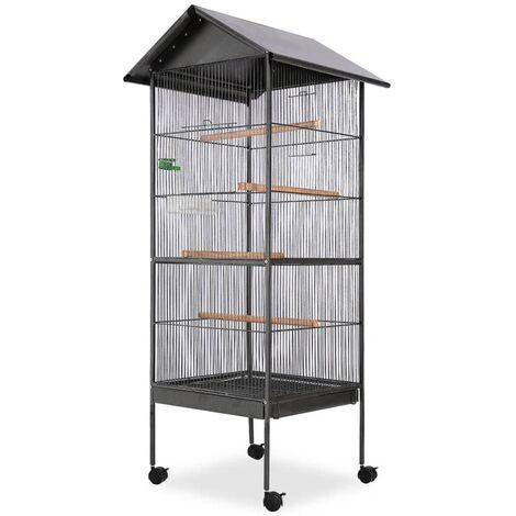 Jaula para pájaros con techo de acero negro 66x66x155 cm - Negro