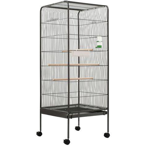 Jaula para pájaros de acero gris 54x54x146 cm