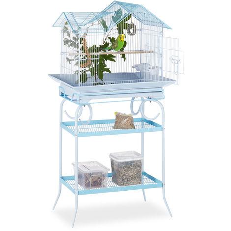 Jaula para pájaros, Dos estantes, Percha, 145,5 x 75 x 51 cm, Azul claro