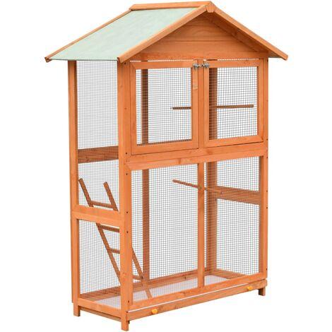 Jaula para pájaros madera maciza de pino y abeto 120x60x168 cm - Marrón