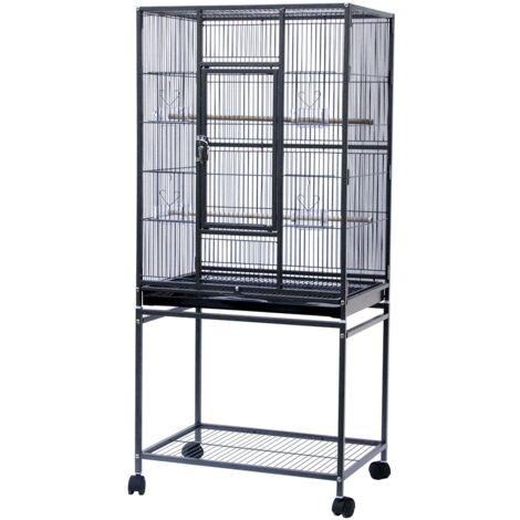 Jaula para pájaros, pajarera, pajarera de loros, con accesorios, soporte de almacenamiento con ruedas 61,5 x 43 x 137 cm