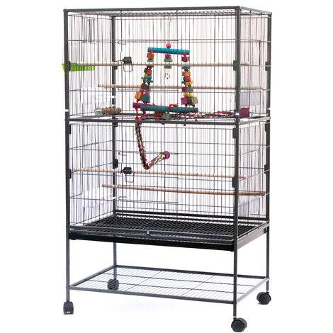 Jaula para pájaros, pajarera, pajarera de loros, con accesorios, soporte de almacenamiento con ruedas 78 x 52 x 132 cm