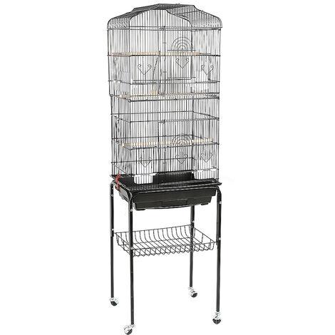 Jaula para Pájaros para canarios, jaula para loros, jaula para pájaros 46x35.3x150.6cm Pajarera con 4 Ruedas