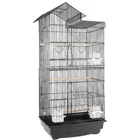 Jaula para Pájaros para canarios, jaula para loros, jaula para pájaros 46x35.5x99cm con Techo fácil de cargar