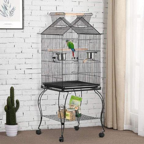Jaula para Pájaros para canarios, jaula para loros, jaula para pájaros 59x59x145cm Jaula con Techo Abierto con Soportes Ruedas