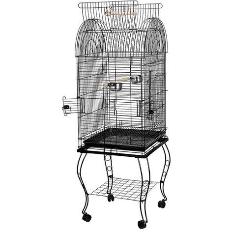 Jaula para Pájaros para canarios, jaula para loros, jaula para pájaros 59x59x150cm Jaula con Techo Abierto con Soportes Ruedas