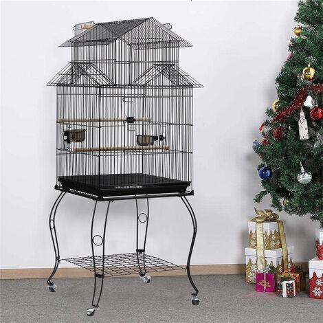 Jaula para Pájaros para canarios, jaula para loros, jaula para pájaros 59x59x150cm Pajarera con 4 Ruedas
