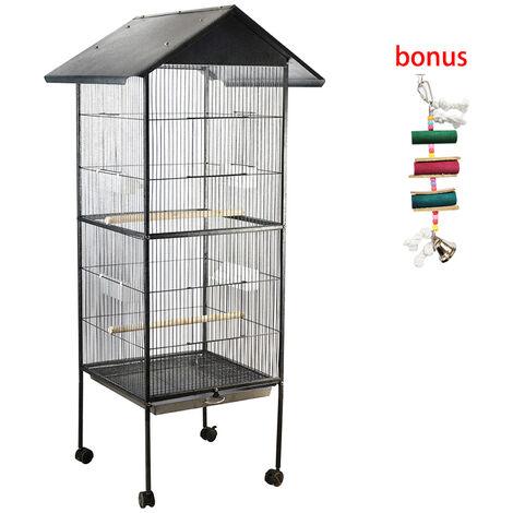 Jaula para pajaros para mascotas, Metal, ancho, alto, gran capacidad, multifuncion, descanso de alimentacion, diversion, facil limpieza, loros, guacamayo, cacatua, nido, suministros