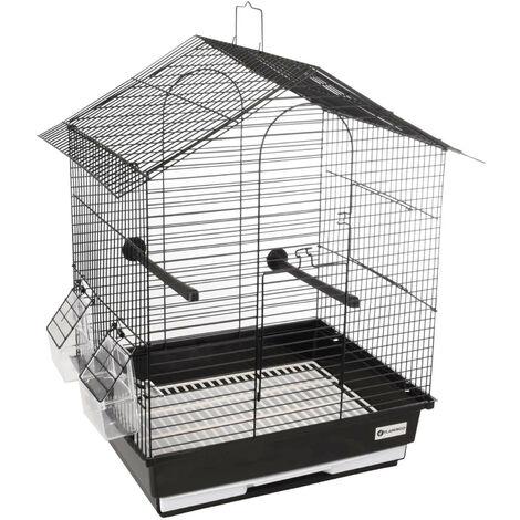 Jaula para perico Nusa negro 35 x 28 x 46 cm. para aves