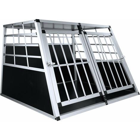Jaula para perros 95 * 86 * 69 cm jaula de doble puerta grande transporte de animales Jaula de aluminio en el coche - Negro