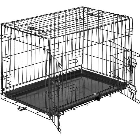 Jaula para perros-caja con rejillas - transportín para perros, caja para perros con puertas y cerrojos, cabina para transportar mascotas - 76 x 47 x 51 cm - schwarz